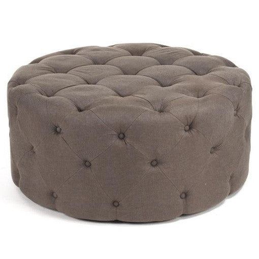 Furniture - Paris Tufted Round Ottoman - Light Brown Linen