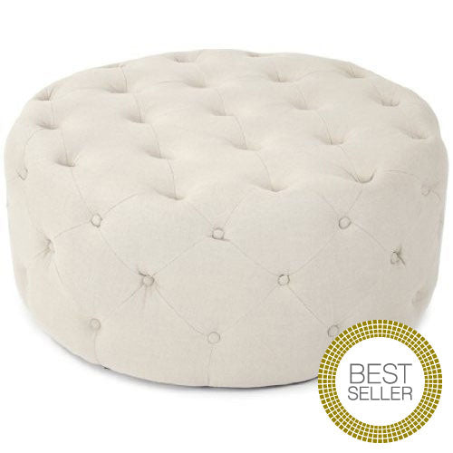 Furniture - Paris Tufted Round Ottoman - Natural Linen