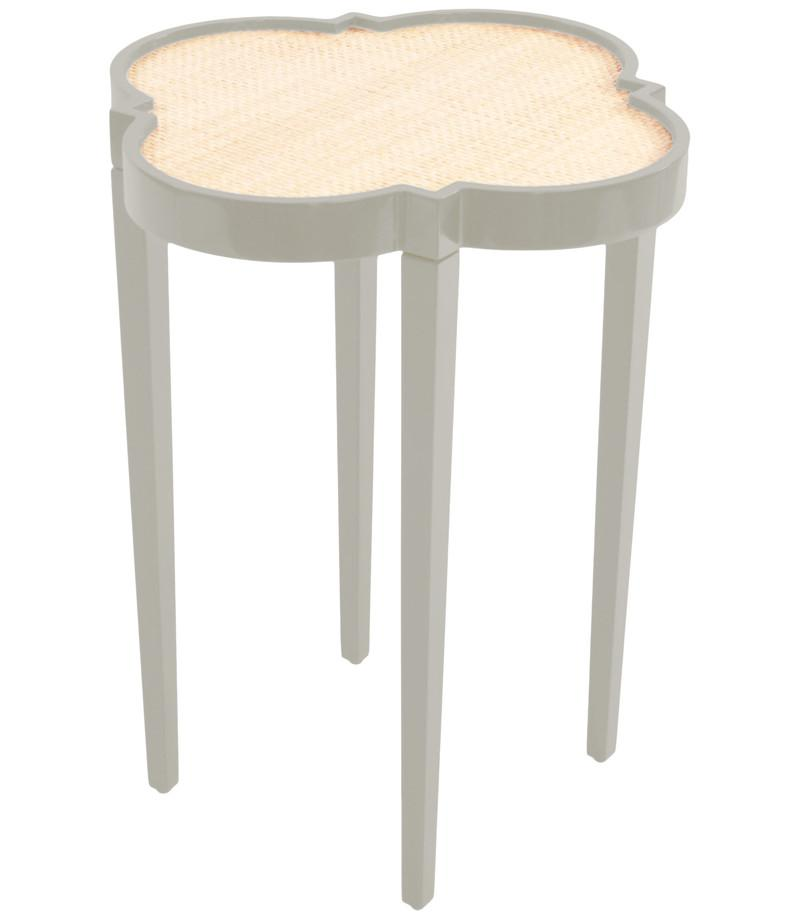 Furniture - Quatrefoil Lacquer Side Table - Fawn Grey (16 Colors Available)