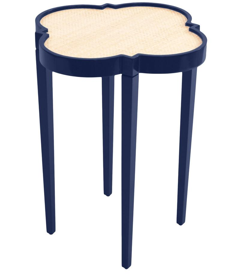 Furniture   Quatrefoil Lacquer Side Table   Navy Blue (16 Colors Available)