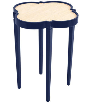 Furniture - Quatrefoil Lacquer Side Table - Navy Blue (16 Colors Available)