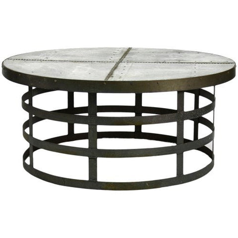 Furniture - Recycled Metal Round Industrial Cocktail Table