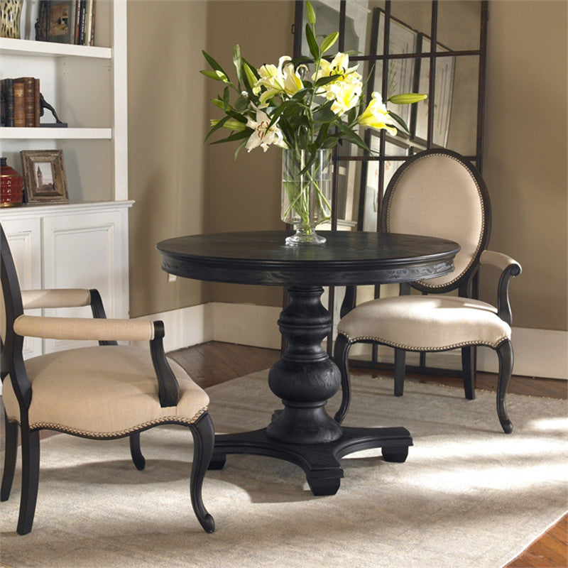 Satin Finish Pine Pedestal Dining Table Black Scenario