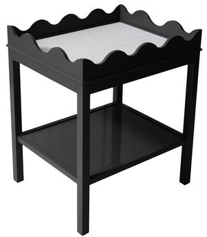 Furniture - Scalloped Two-Tier Lacquer Side Table - Black (16 Colors Available)