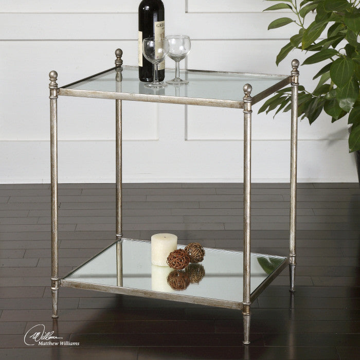 Gannon Silver Leaf & Mirror Side Table