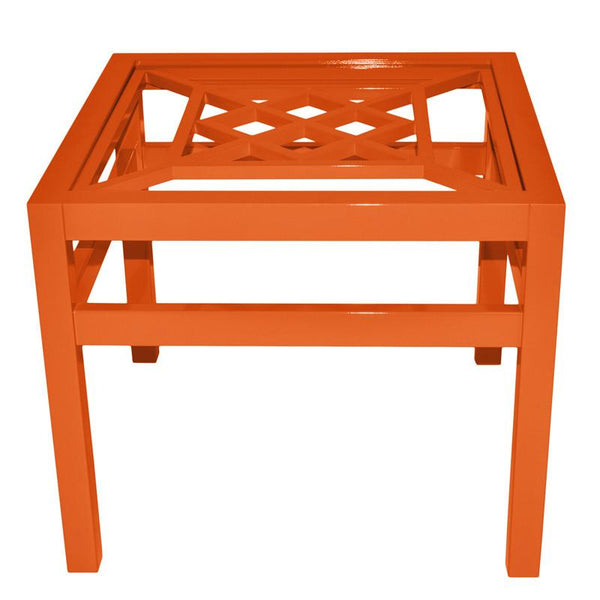 "Furniture - Southport 26"" Square Lacquer Side Table - Orange (16 Colors Available)"