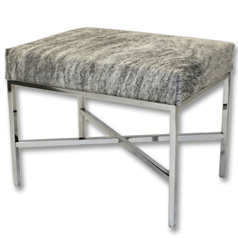 Furniture - Speckle Cowhide & Chrome Bench - Grey