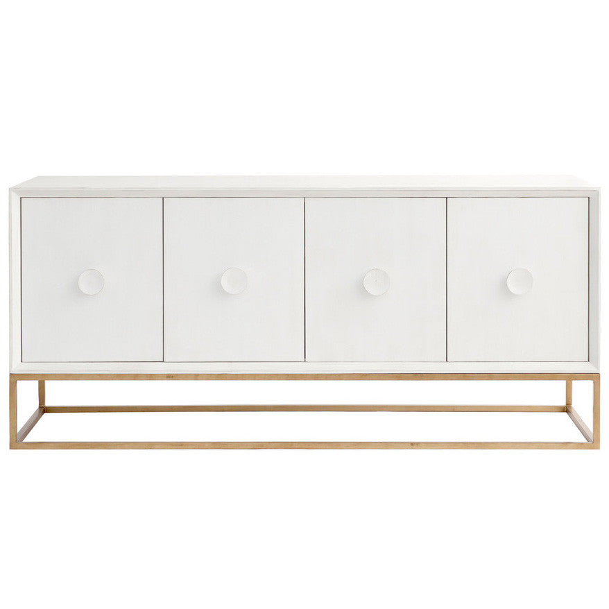 Furniture - Spencer Entertainment Media Console - Raw White Cotton ( 28 Finish & 3 Frame Options)
