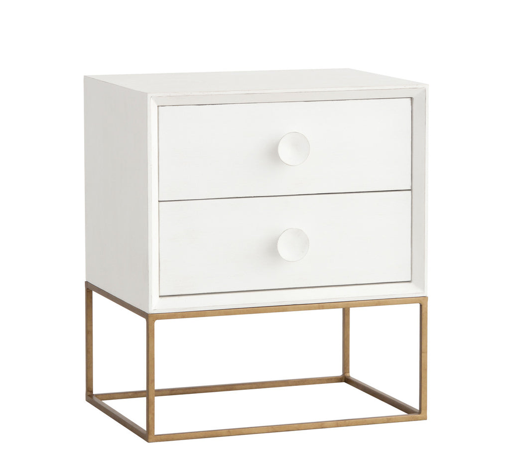 Spencer Two Drawer Nightstand Raw White Cotton 16 Finish 3 Frame Options