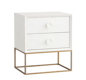 Furniture - Spencer Two Drawer Nightstand - Raw White Cotton ( 28 Finish & 3 Frame Options )