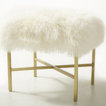 Furniture - Tibetan Lamb & Gold Bench - Cream