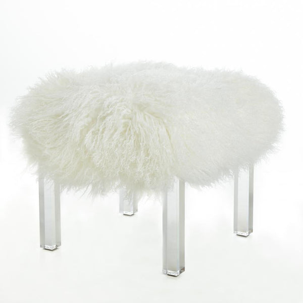 Furniture - Tibetan Lamb & Lucite Bench Ottoman - Cream