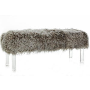 Furniture - Tibetan Lamb & Lucite Bench - Taupe