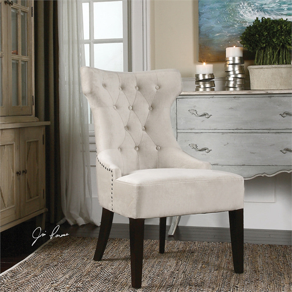 Tufted Armless Wing Chair With Nail Head Trim Off White