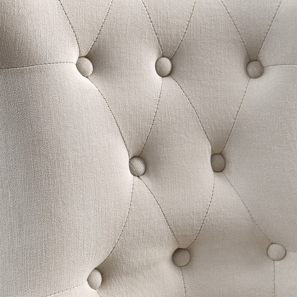 Furniture - Tufted Armless Wing Chair With Nail Head Trim — Off-White Velvet