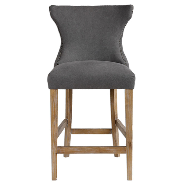 Tufted Back Counter Stool With Nailhead Trim Gray Linen