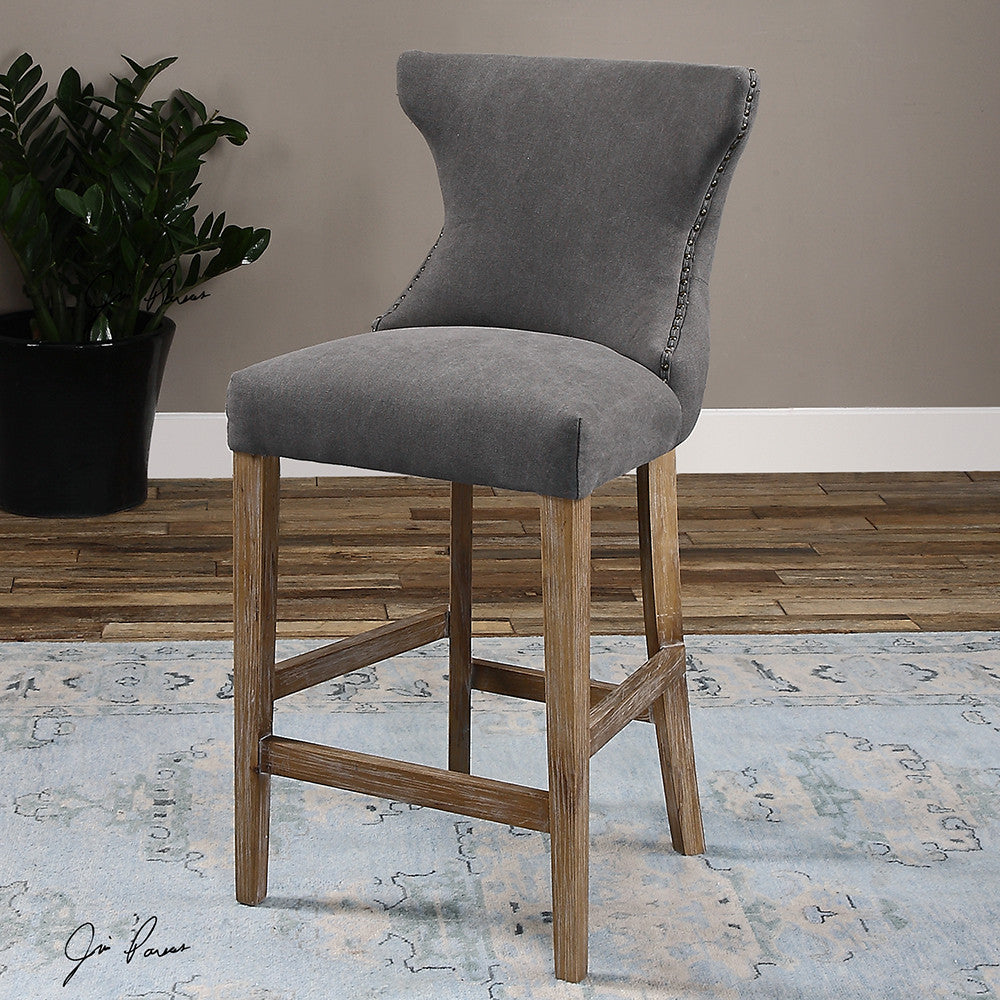Furniture - Tufted Back Counter Stool With Nailhead Trim- Gray Linen