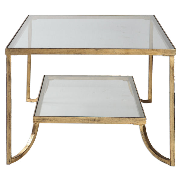 Furniture - Two-Tiered Cocktail Table – Antique Gold Leaf