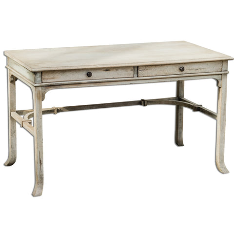 Furniture - White Mango Wood Writing Desk With Brass Details