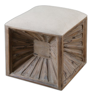 Furniture - Wood & Linen Cube Ottoman