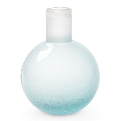 Bungalow 5 Large Mouth Blown Seeded Glass Vase – Sky Blue