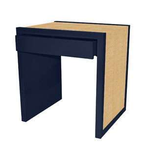 Modern Lacquer Side Table with Drawer – Navy Blue (19 colors available)
