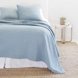 POM POM AT HOME HUNTINGTON-DUSTY BLUE-COVERLET