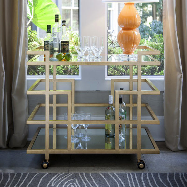 Worlds Away Bar Cart with Mirror Shelves – Gold Leaf