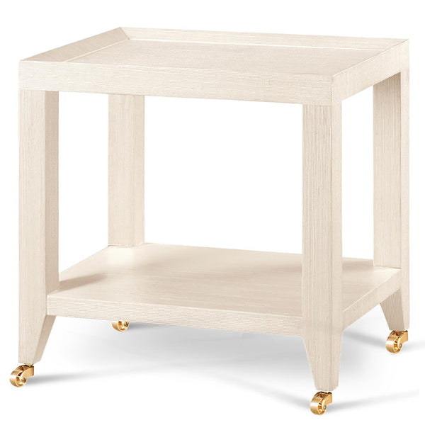 Bungalow 5 Lacquered Grasscloth Tea Table with Casters – Natural
