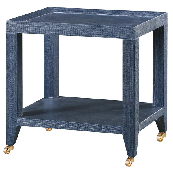 Bungalow 5 Lacquered Grasscloth Tea Table with Casters – Navy Blue