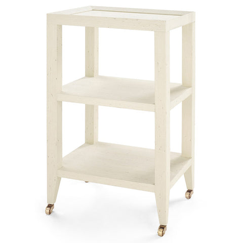 Bungalow 5 Lacquered Grasscloth 2-Shelf Accent Table – Natural