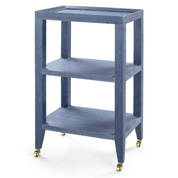 Bungalow 5 Lacquered Grasscloth 2-Shelf Accent Table – Navy Blue