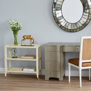 Bungalow 5 Lacquered Grasscloth 2-Shelf Console Table – Natural