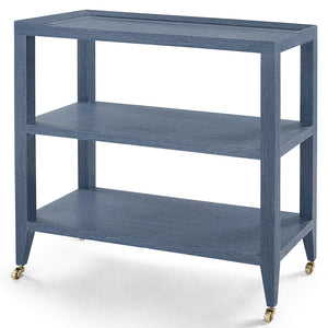 Bungalow 5 Lacquered Grasscloth 2-Shelf Console Table – Navy Blue