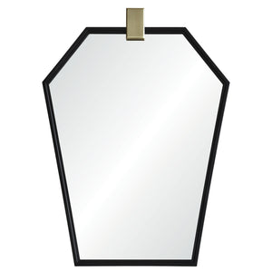 Modern Geometric Black Nickel Mirror with Satin Brass Accent