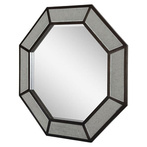 Octagon Antiqued Mirror - Toasted Mahogany Finish