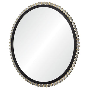 Acrylic & Black Nickel and Brass Nailheads Round Mirror