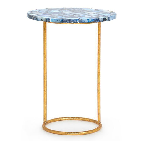 Bungalow 5 Gold Leaf Round Side Table with Agate Top – Blue