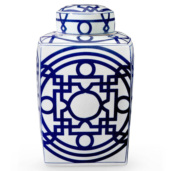 Bungalow 5 Square Porcelain Temple Jar with Lid – Blue & White