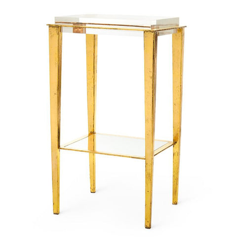 Bungalow 5 Gold Leaf Tapered Legs Side Table with Lucite Top