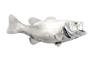 Large Mouth Bass Fish Wall Sculpture, Resin, Silver Leaf