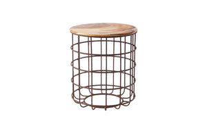 Cage Side Table, Chamcha Wood, Iron Base, SM
