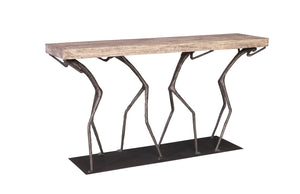 Atlas Console Table, Chamcha Wood, Gray Stone Finish, Metal