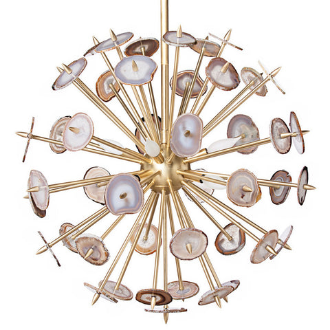 Lighting - Agate Burst Chandelier - Brass