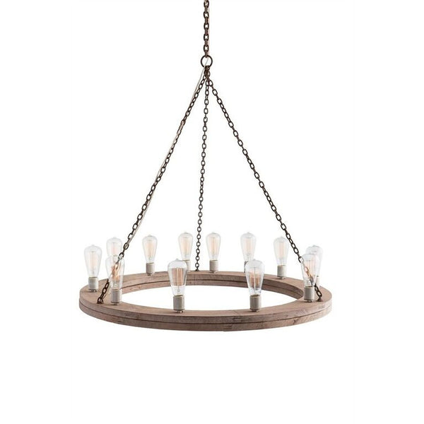 Lighting - Arteriors Geoffrey Rustic Ring Chandelier- Natural Wood
