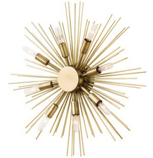 Lighting - Arteriors Jiten Sunburst Sconce & Ceiling Mount - Antique Brass