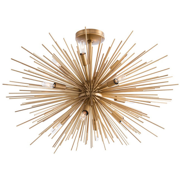 Lighting - Arteriors Zanadoo Starburst Fixed Chandelier - Antique Brass