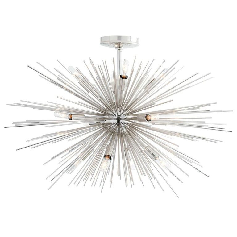 Lighting - Arteriors Zanadoo Starburst Fixed Chandelier - Polished Nickel