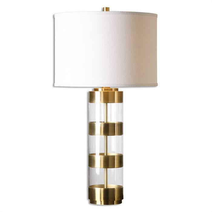 Lighting   Banded Glass Table Lamp   Gold