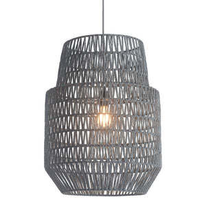 Lighting - Basket Pendant Light — Woven Paper & Metal